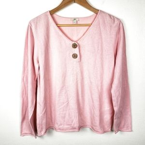 J JILL Pink Two Button V Neck Long Sleeve Pullover